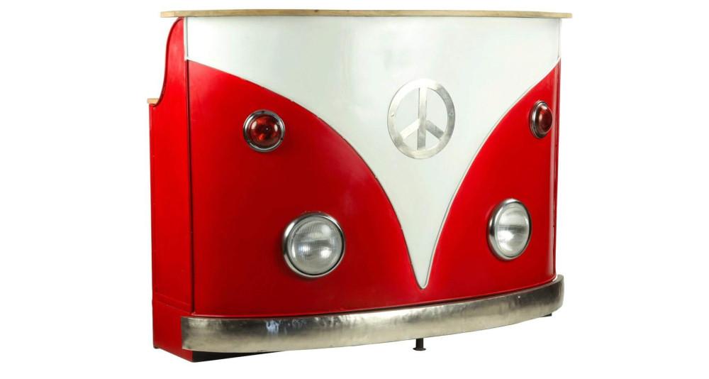 Comptoir de bar vintage rouge style combi VW