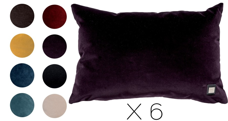 Lot de 6 coussins Velours rectangulaires