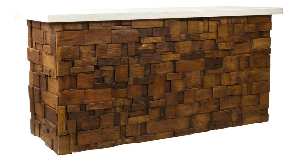 Comptoir de bar en bois recyclé texturé Eldorado