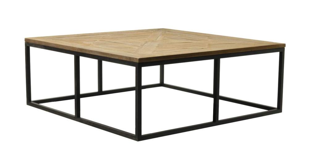 Table basse 120 x 120 cm industrielle bois, métal Antonito