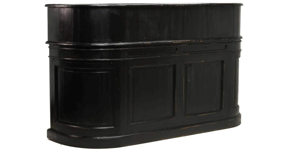 Comptoir de bar ancien en bois noir Randolph