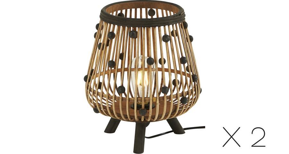 Lot de 2 Lampes Bambou Perle