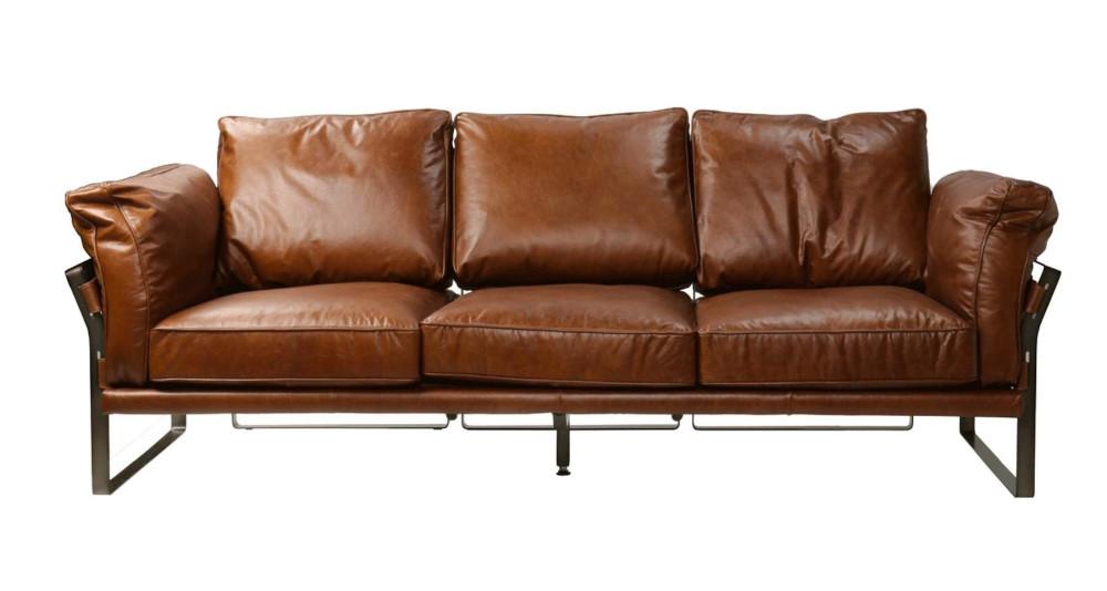 Canapé 3 places en cuir de vache pleine fleur Westhope