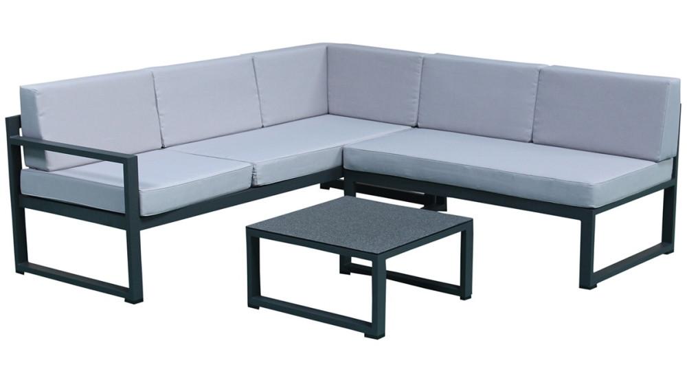 Salon de jardin d\'angle moderne en aluminium gris Agata
