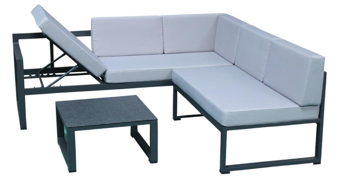 Salon de jardin d 39 angle moderne en aluminium gris agata - Salon de jardin en angle ...