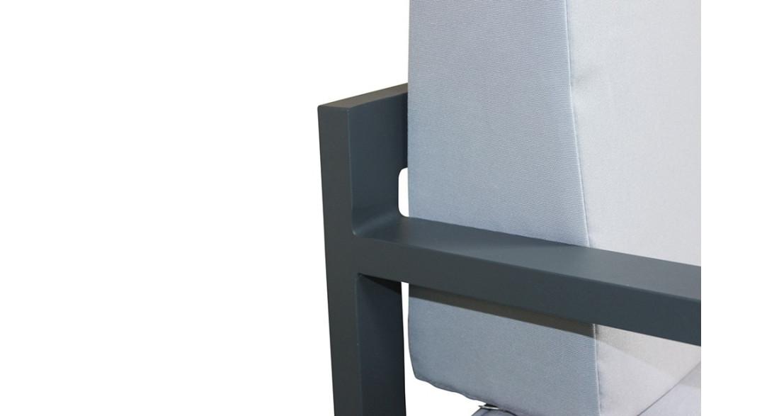 salon de jardin d 39 angle moderne en aluminium gris agata. Black Bedroom Furniture Sets. Home Design Ideas