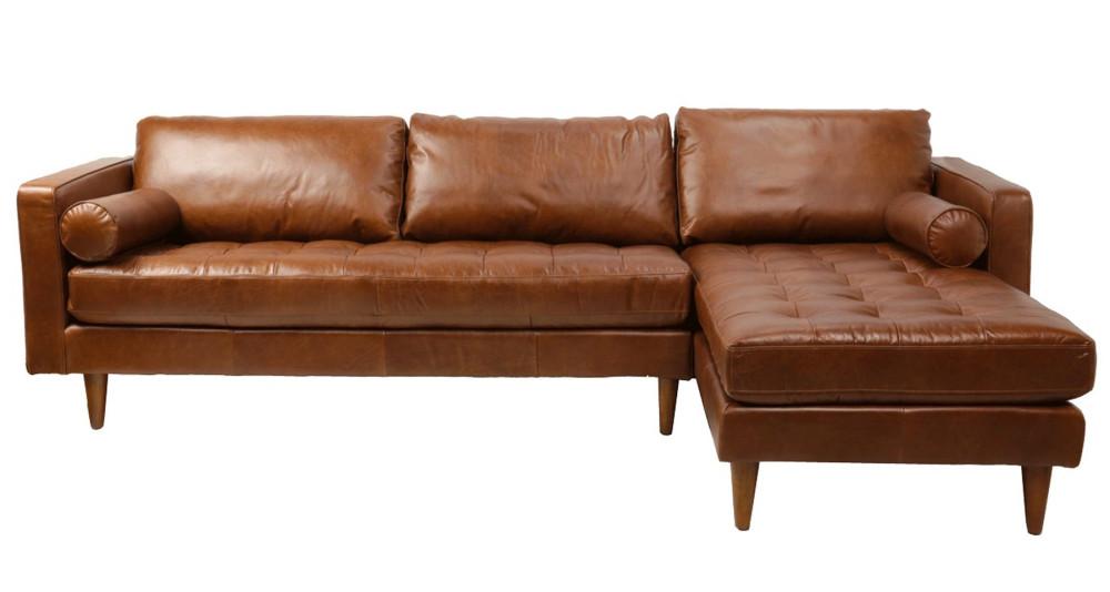 Canapé d'angle en cuir pleine fleur Franklin