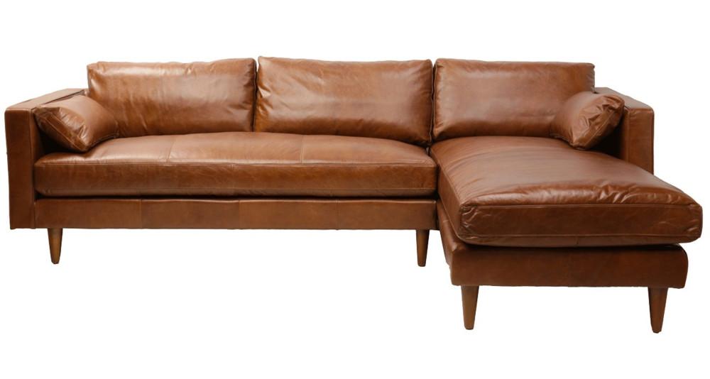 Canapé d'angle en cuir pleine fleur marron Sheridan