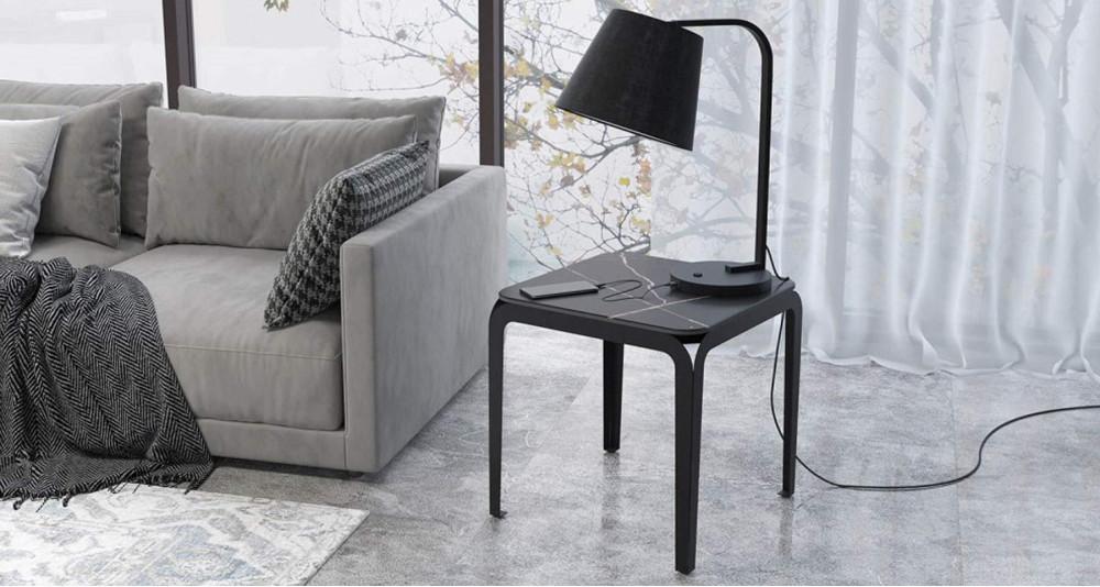 Bout de canapé en céramique marbre noir Corinthe