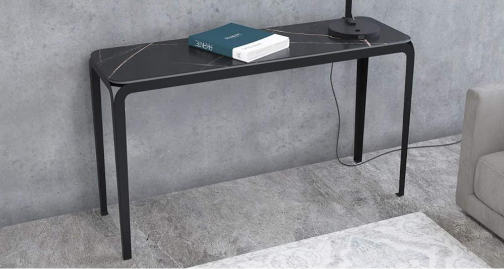 Console en céramique marbre noir Corinthe