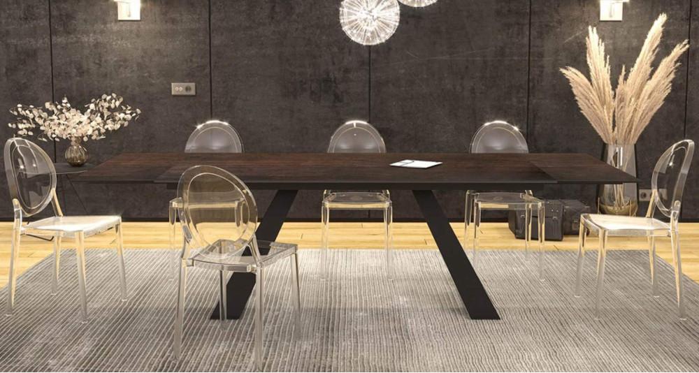 Grande table extensible 190/270 cm en céramique Illusion
