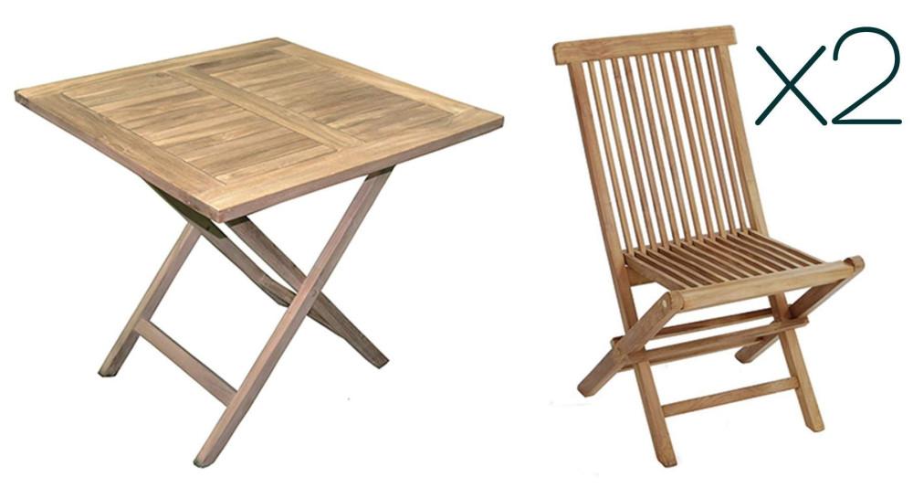 Table + 2 chaises en teck pour balcon Marbella