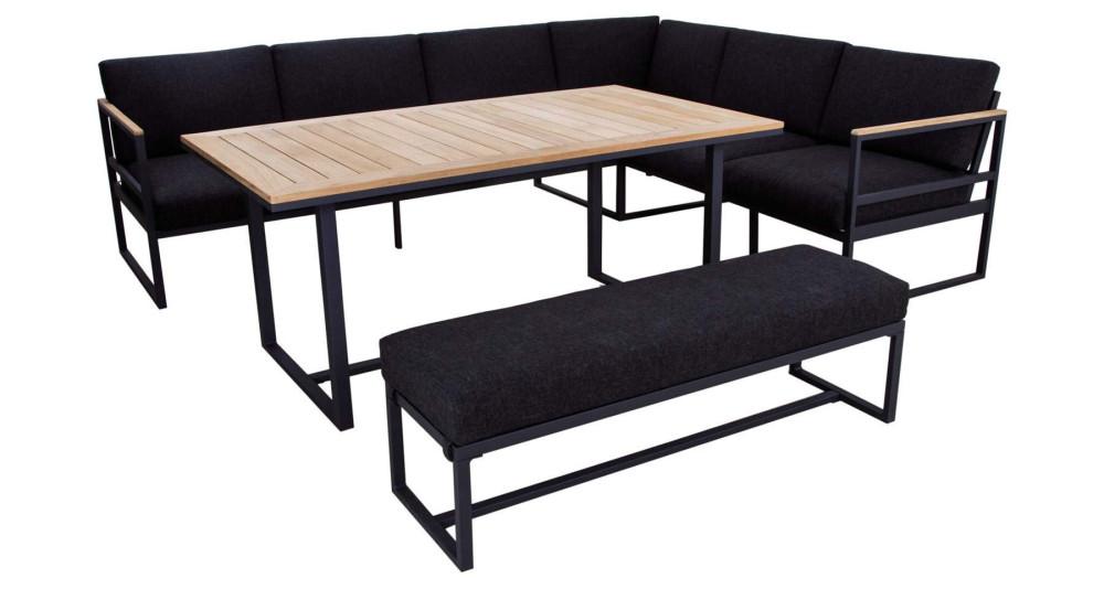 Salon de jardin avec table repas teck Balistra