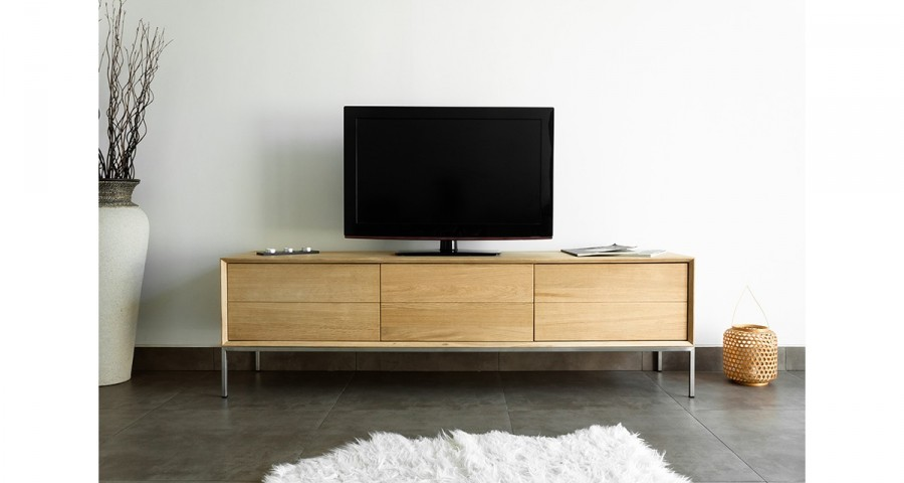 meuble tv 2 tiroirs 1 porte rabattable en ch ne massif kimberley. Black Bedroom Furniture Sets. Home Design Ideas