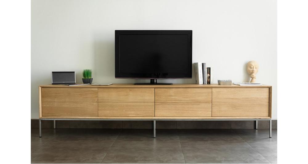 Grand Meuble Tv 225 Cm En Chene Massif Et Pieds Acier Kimberley