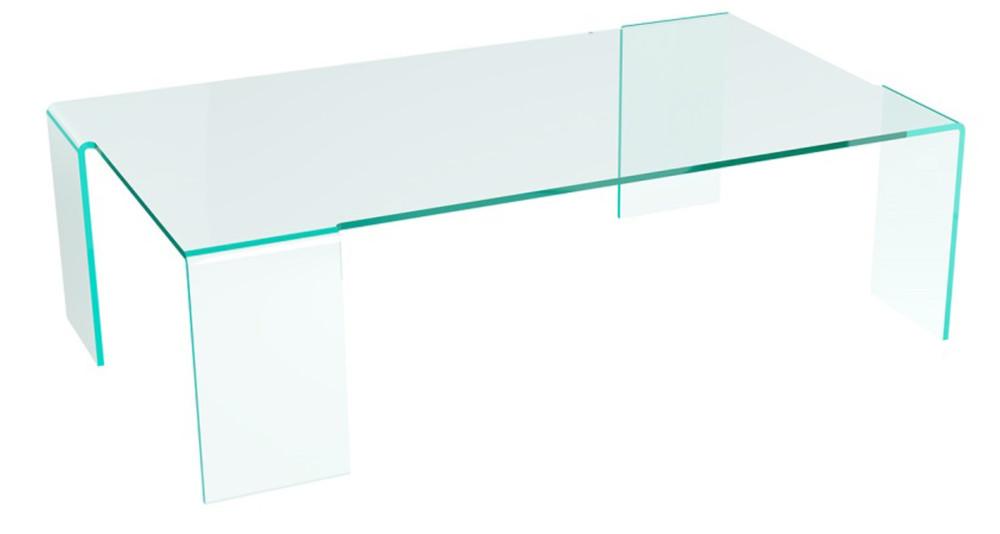Table basse rectangulaire en verre cristallin Ninon