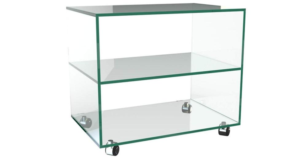Table basse en verre à roulettes 60 x 40 cm Homère