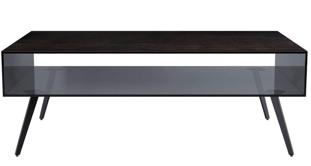 Table basse en verre et plateau céramique acier Denver