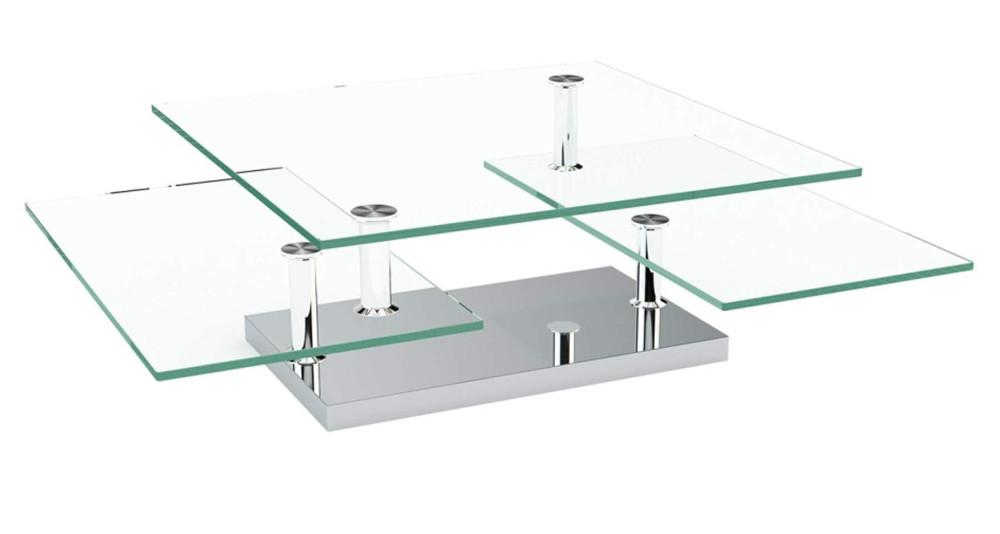 Table basse élégante avec plateaux verre ou céramique Melfort