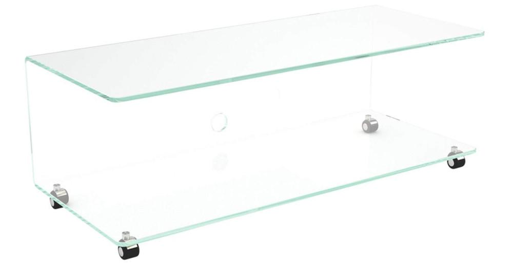 Meuble TV en verre cristallin à roulettes Maud
