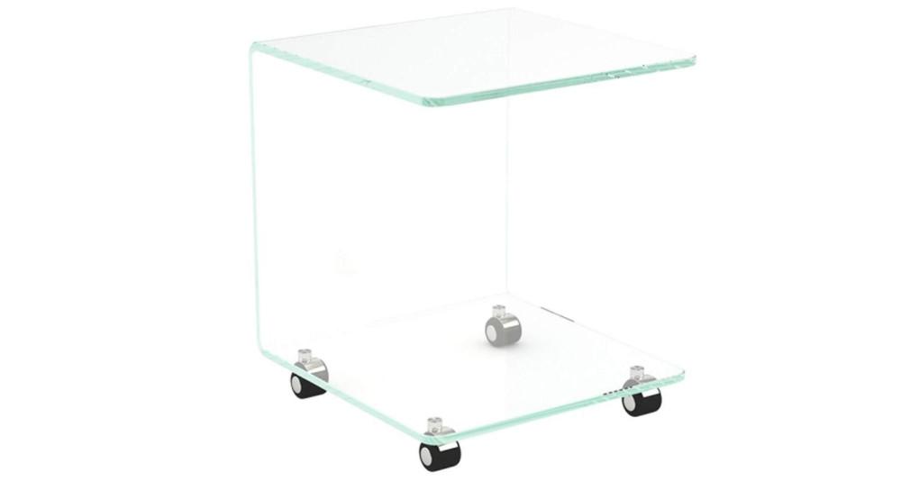 Bout de canapé en verre cristallin à roulettes Maud