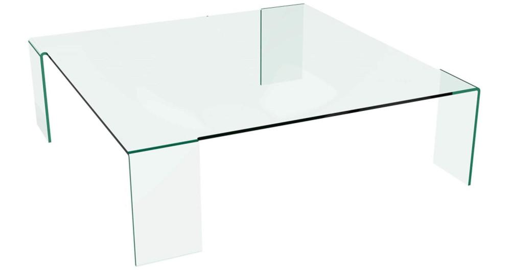 Table basse 120 x 120 cm en verre clair Ninon