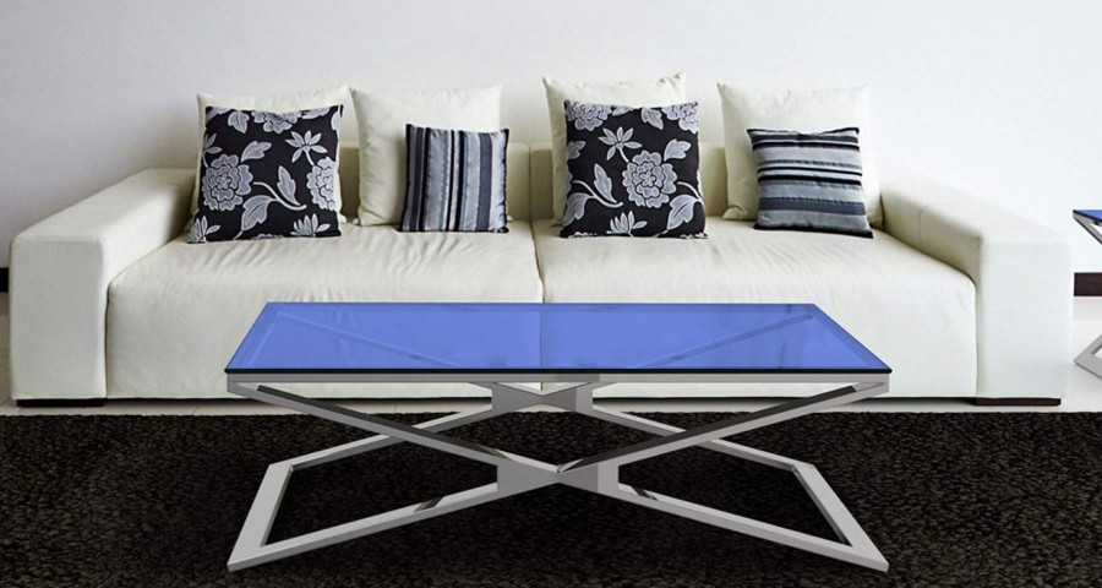 Table basse 110 x 65 cm en verre ou céramique Clelia
