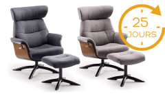 Fauteuil inclinable relax manuel + pouf Kobe