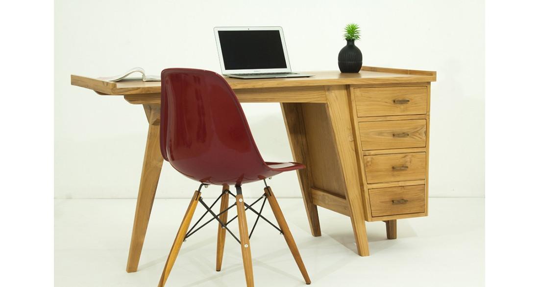 Bureau design scandinave 4 tiroirs en teck massif sydney