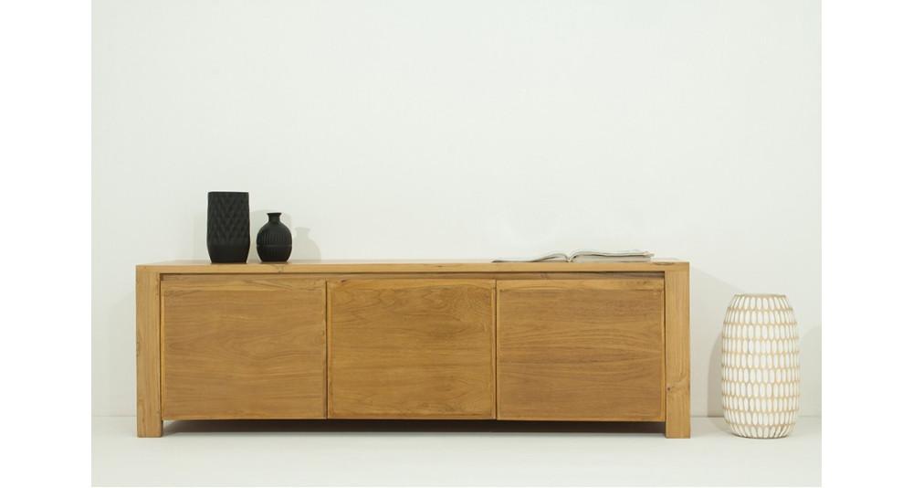 meuble tv 160 cm en teck massif naturel 3 portes sigourney. Black Bedroom Furniture Sets. Home Design Ideas