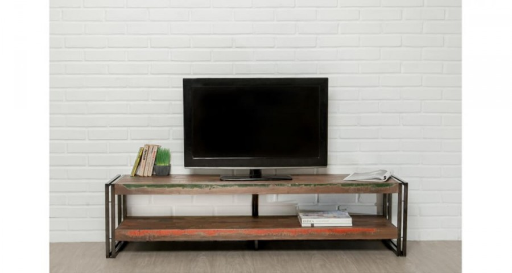Meuble TV 160 cm en bois recyclé Colorada