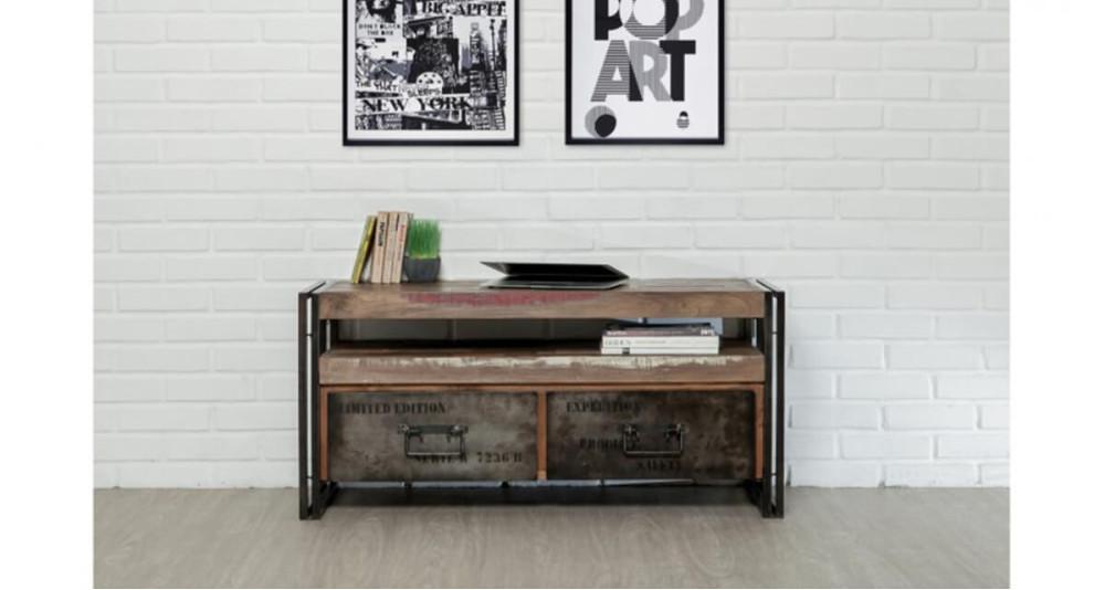 Meuble télé bois recyclé et métal Colorada