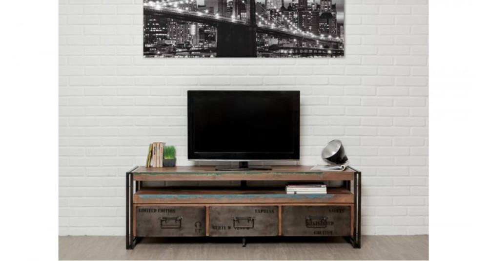 Meuble TV ethnique en bois recyclé Colorada