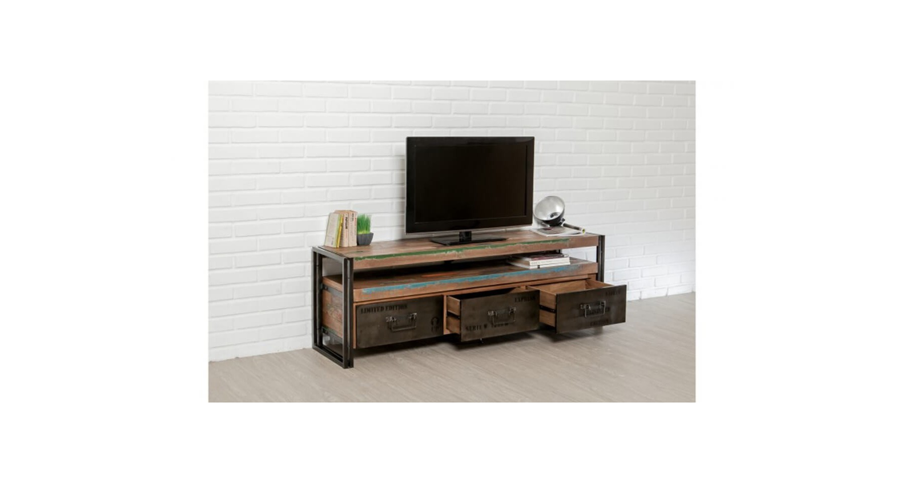 meuble tv ethnique en bois recycl et m tal colorada. Black Bedroom Furniture Sets. Home Design Ideas