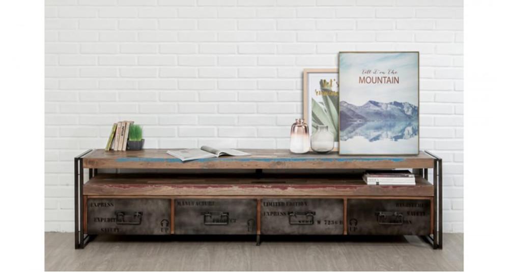 Meuble TV 210 cm en teck recyclé Colorada