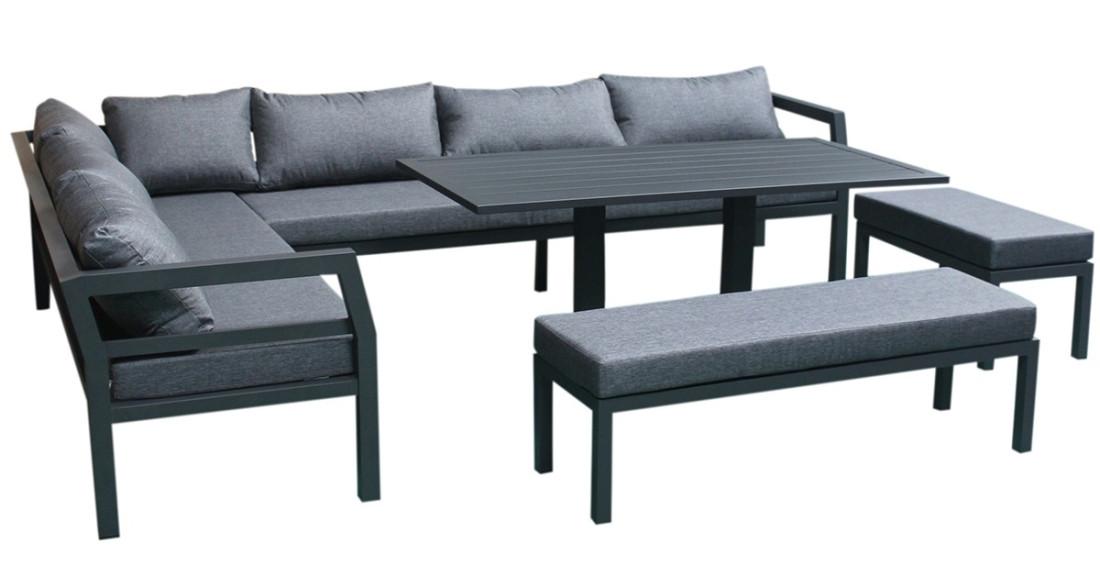 salon de jardin d 39 angle contemporain 12 places en. Black Bedroom Furniture Sets. Home Design Ideas