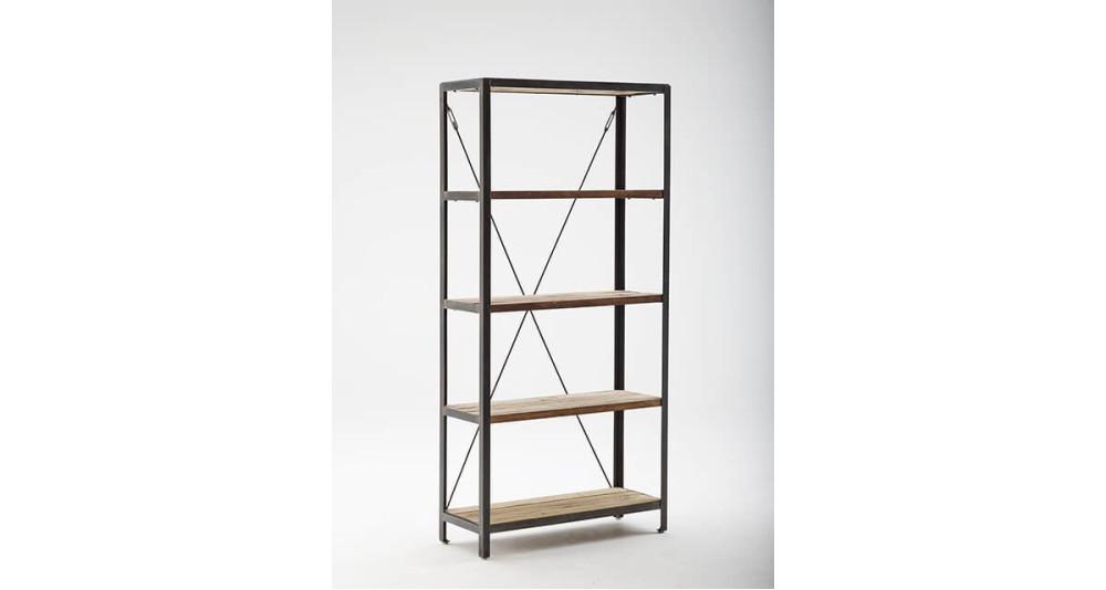 etag re industrielle en teck et en acier shelly. Black Bedroom Furniture Sets. Home Design Ideas