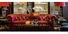 Canapé chesterfield 3 places cuir rouge Cardross