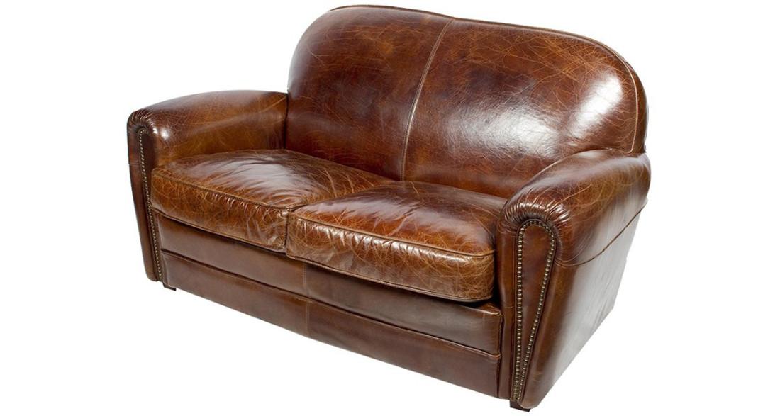 canap club en cuir pleine fleur marron taunton. Black Bedroom Furniture Sets. Home Design Ideas