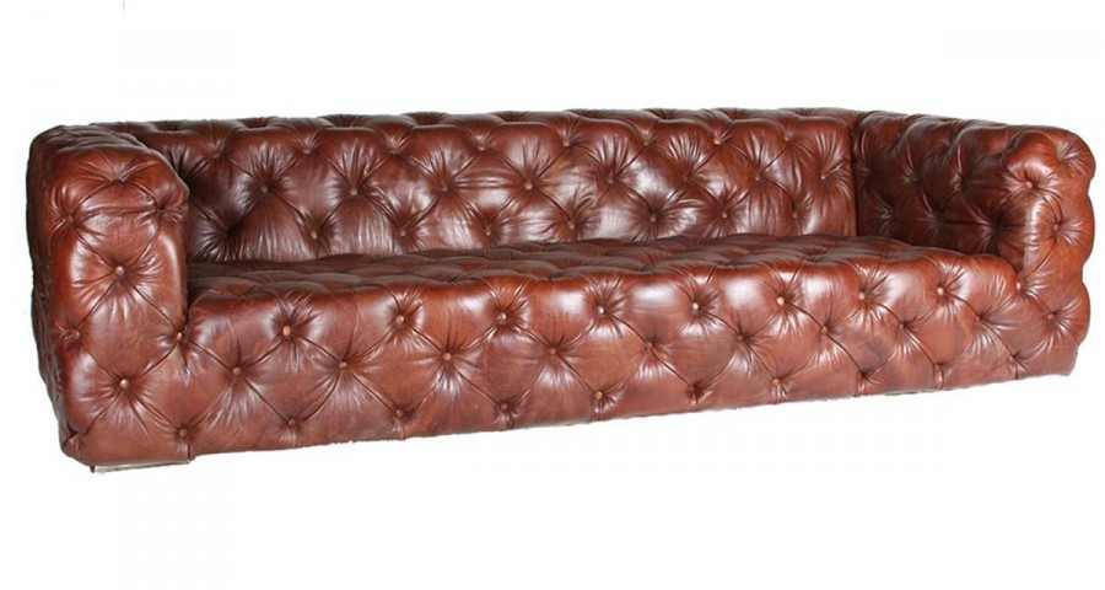 canap chesterfield en cuir pleine fleur marron brighton. Black Bedroom Furniture Sets. Home Design Ideas