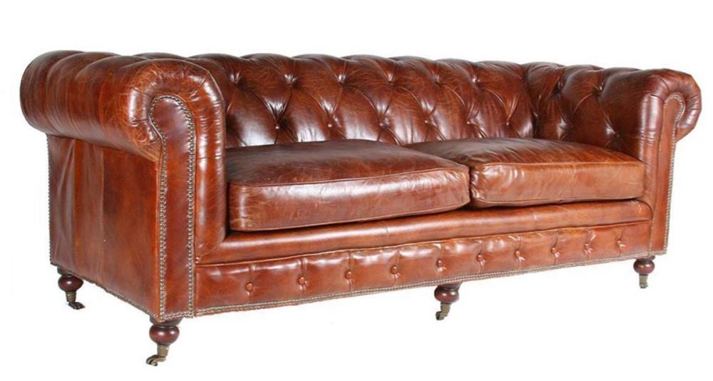 canap chesterfield en cuir pleine fleur marron norwich. Black Bedroom Furniture Sets. Home Design Ideas