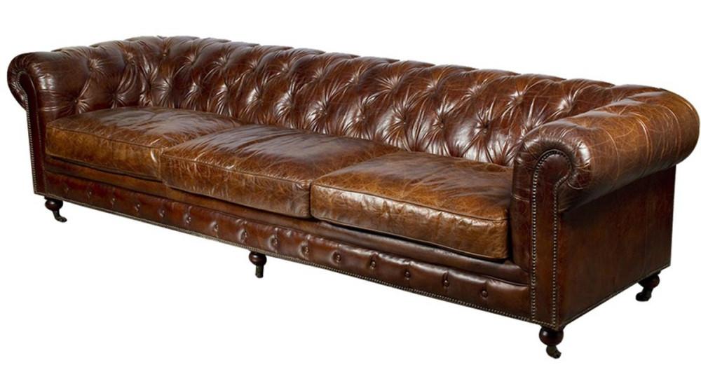 Canapé chesterfield 303 cm en cuir Trent