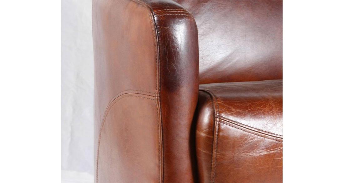 canap club en cuir pleine fleur 2 places indiana. Black Bedroom Furniture Sets. Home Design Ideas