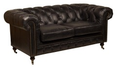 Canapé chesterfield 2 places cuir noir Helens