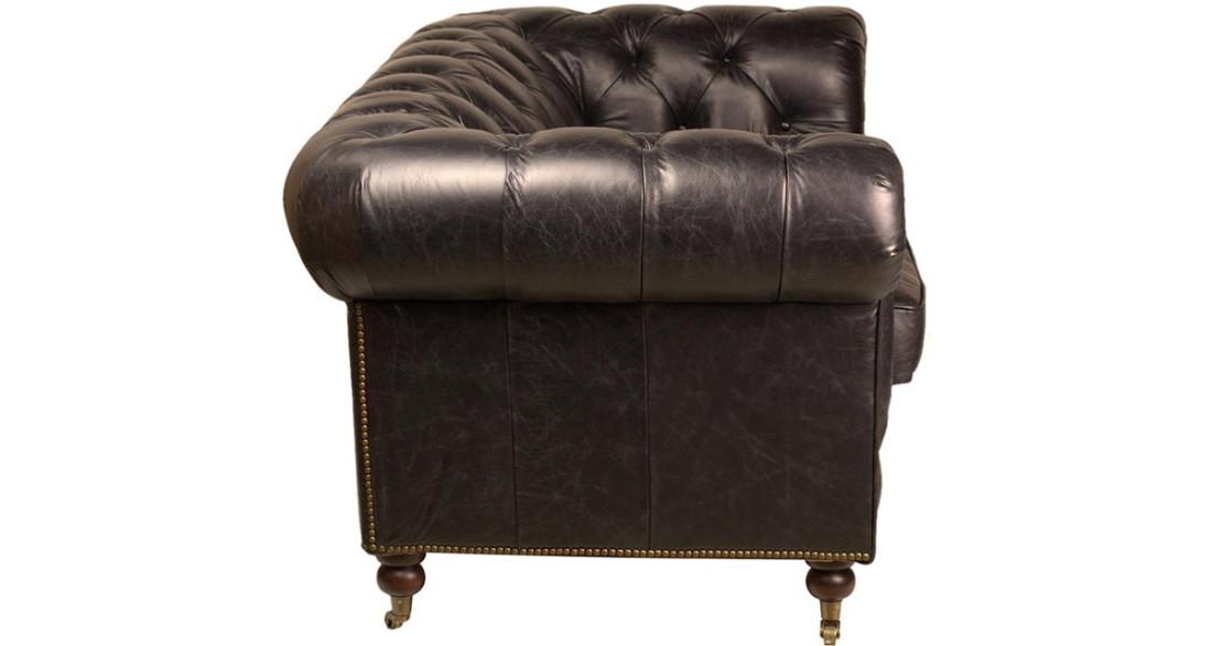 canap chesterfield 2 places en cuir pleine fleur noir helens. Black Bedroom Furniture Sets. Home Design Ideas