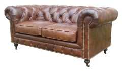 Canapé chesterfield 2 places cuir marron Borrows