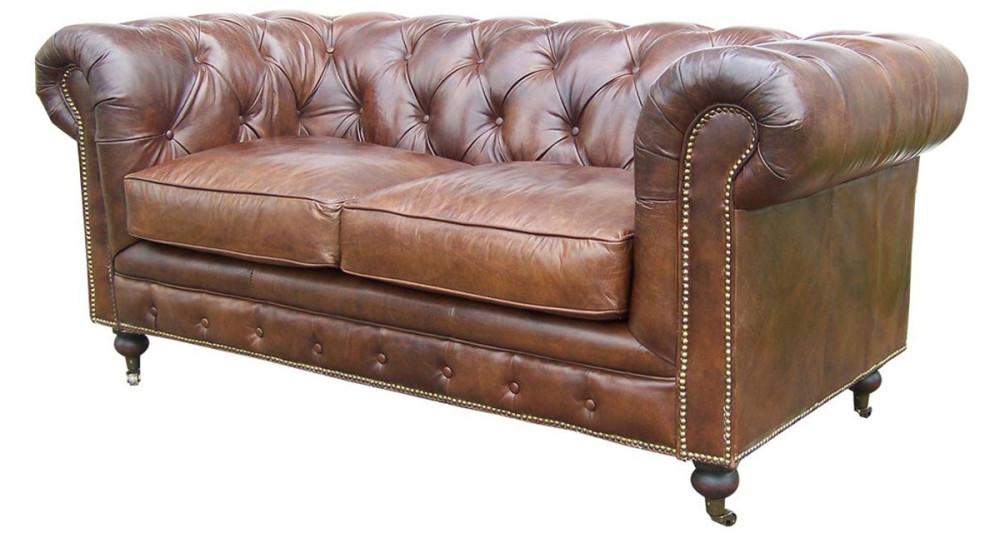 canap chesterfield 2 places en cuir pleine fleur marron borrows. Black Bedroom Furniture Sets. Home Design Ideas