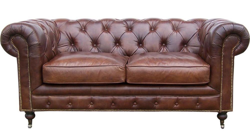 Canapé chesterfield 2 places cuir marron Borrows