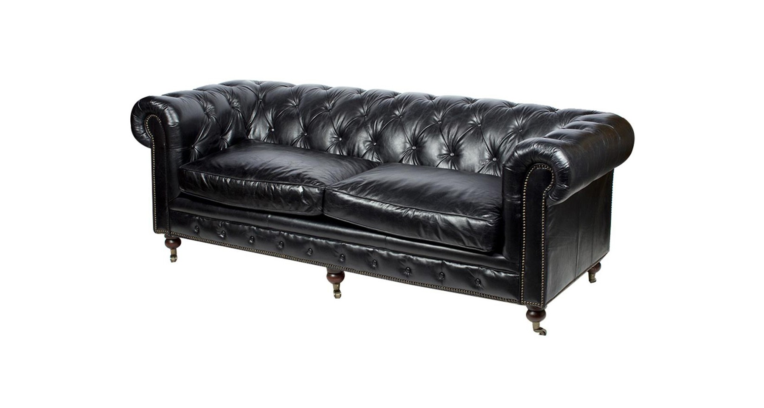 canap chesterfield en cuir pleine fleur noir valentin. Black Bedroom Furniture Sets. Home Design Ideas