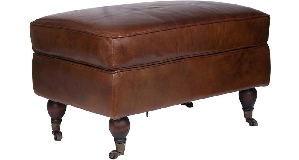 Pouf club en cuir marron vintage Arlington